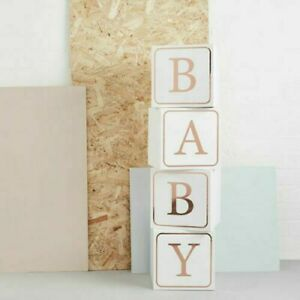 Giant Baby Blocks 1m tall White & Rose Gold Baby shower decorations photo props
