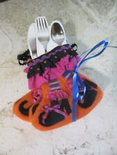 Four felt Halloween table decor utensil holder Witches boots