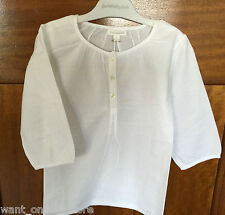 BNWT Purebaby Kids 100% Organic Cotton Pure Baby White Blouse Top Shirt Size 7