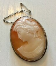 Lovely Quality Early Vintage Solid Silver Cameo Brooch Nice