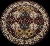 Geometric Transitional Oriental Area Rug Round Hand-Tufted Wool 6x6 New Carpet