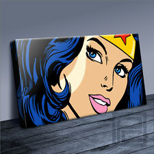 WONDER WOMAN LICHTENSTEIN STYLE ICONIC CANVAS POP ART PRINT PICTURE Art Williams