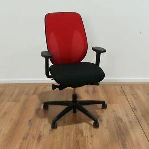 Giroflex 353 Bürodrehstuhl - Stoff rot - Netzrücken - Gestell schwarz