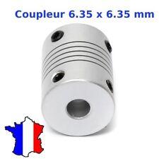 Coupleur 6.35x6.35mm Aluminium - Shaft Flexible Coupling Coupler 6.35 * 6.35 mm
