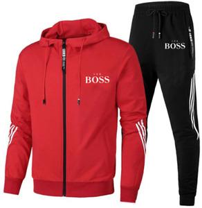 Boss1 Trainingsanzug Herren Hoodie + Trainingshose Freizeit Jogging Sport Anzug