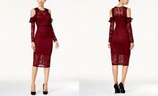 Thalia Sodi Cold-Shoulder Lace Dress in Napa Wine, size 10