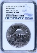2016 P AUSTRALIA KANGAROO HIGH RELIEF ANTIQUED 2 Oz Silver $2 COIN NGC MS69 ER