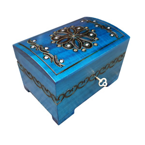 WOODEN JEWELLERY CHEST 15 CM LONG, LOCK AND KEY IN BLUE COLOR