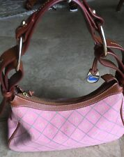 "Dooney & Bourke Pink and Green Canvas Hobo bag 12Wx7""x4"