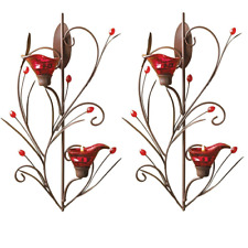 Set of 2 Ruby Blossom Tealight Wall Sconce Candle Holder Home / Garden Decor NEW