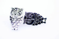 Vintage carved antique silver coloured weathered owl stud earrings KITSCH EMO