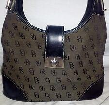 Dooney & Bourke Large Mono Shoulder Bag Leather Canvas Brown Black Bucket Purse