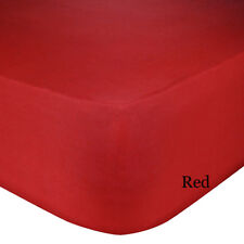 Luxury Plain Dyed Non-Iron Percale Cotton King Bed Elastic Fitted Sheet Red New