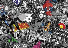 MARVEL COMIC STICKERBOMB CAST VINYL/ WRAP Sheet 400mm X 250MM (B&W with colour)