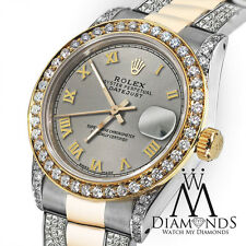 Women's 31mm Rolex Oyster Perpetual Datejust Custom set Diamonds Tone Grey Roman