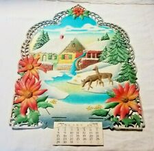 "Vintage Embossed German Christmas Farmhouse w/1956 Calendar 15 1/2"" x 21"" DieCut"