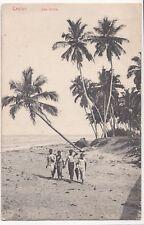 Sri Lanka / Ceylon; Sea Shore PPC, 1908 PMK, Group of Locals on Beach