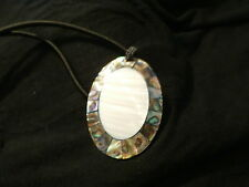 ABALONE AND MOTHER OF PEARL LARGE OVAL  NECKLACE