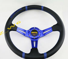 DEEP DISH JDM 350MM 6 HOLE PVC LEATHER ALUMINUM RACING STEERING WHEEL & HORN