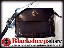 Borsa messenger artigianale in cuoio cameo nero 4 scomparti Made in Italy Gothic