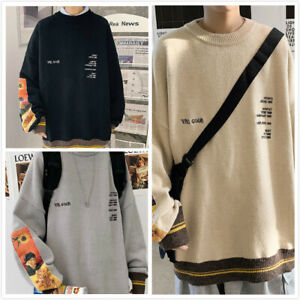 Men Retro Fashion Pullover Sweater Van Gogh Painting Embroidery Knitted Sweaters