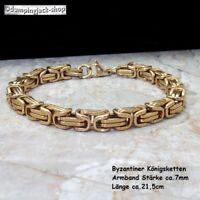 Massives Edelstahl Königsarmband Byzantiner Länge 21,5 cm x 7,0 mm • Farbe Gold