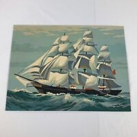 """Vintage Mid Century Paint by Number Nautical Sailboat Seascape Scene 16"""" by 12"""""""