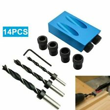 14pcs Oblique Hole Jig Punch Positioner Kit Woodworking Fixture Screw Drill Tool