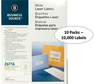 """Business Source BSN26116 10UP White Laser Labels - 2"""" x 4"""", 10,000 Labels"""