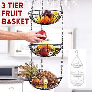 3-Tier Hanging Fruit Basket Holder Decorative for Vegetables, Snacks