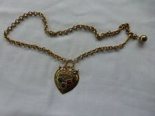 """Vtg Gold Tone Metal Chain Jeweled Crown Belt Necklace One Size 34"""" Golden Stella"""