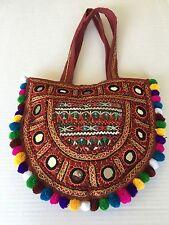 Bag Bohemian Artisan Mirrors Embelished Pom Pom Multicolor Hip