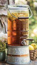 Liberty Glass Beverage Dispenser With Galvanized Steel Frame Vintage 2.5 Gallon