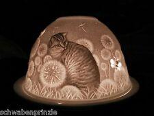 Windlicht Katzen Katze Dome Porzellan Samtpfoten Weiß Teelichthalter Pusteblume