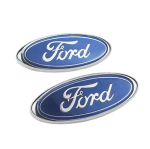 Ford badge oval blue/Chrome 150mm x 60mm front/rear Emblem focus mondeo transit.