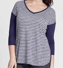 V-Neckline 3/4 Sleeve Striped Tops & Blouses for Women