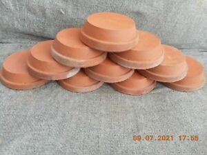 """10 x ANTIQUE, SHALLOW TERRACOTTA CLAY SAUCERS/POTS 3.5"""" SANKEY BULWELL"""