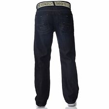 New ENZO Mens Work Basic Straight Regular Leg Fit Blue Belt Denim Jeans Big Size