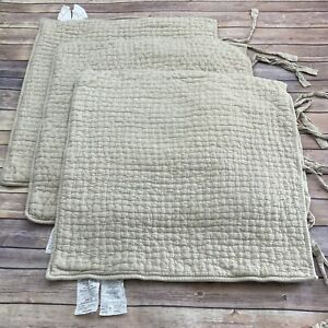 Pottery Barn Set 3 Pick Stitch Euro Pillow Shams Tie Closure USED Natural As-Is