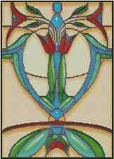 Art Deco Stained Glass Tulip Counted Cross Stitch Complete Kit- #33-100