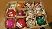 VINTAGE MERCURY GLASS CHRISTMAS ORNAMENTS (MIXED LOT OF 12) Stenciled Painted.