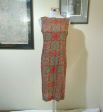 New listing 1960s Mod Home Made Red/Green/Brown Boho Print Shift Dress Sz S