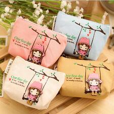 Durable Retro Canvas Wallet Women Girl Card Key Coin Pouch Mini Purse Bag SH