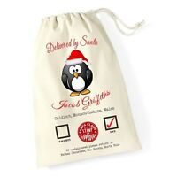 Personalised Christmas Santa Sack Penguin Xmas Present Stocking