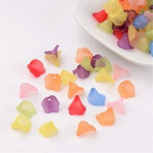 150x Frosted Trans White & Color Mix Acrylic Flower Bead Jewelry Craft 10x10mm
