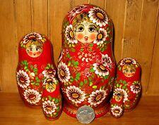 Russian Wood Matryoshka nesting doll 5 piece RED GOLD & DAISIES