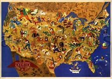 USA William Gropper America FOLKLORE Map Vintage Reprint Art Print Poster 24x36