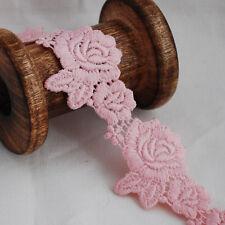 Guipure Trim-Pearl Rosa-Floreale Fiore Rosa Foglia Larga - 4cm-GLR17