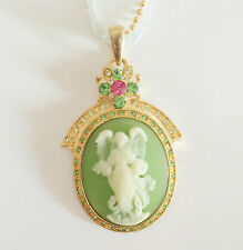 New Angel Vintage Style Cameo Green Floral Oval Charm Lace Chain Necklace NE1026