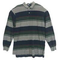 Polo Ralph Lauren VTG USA Long Sleeve Polo Golf Shirt XL Wide Striped Gray Multi